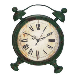 Cheung's - Green Table Clock - 1AA not included, functioning clock, distressed body Cheung's - FP-3304
