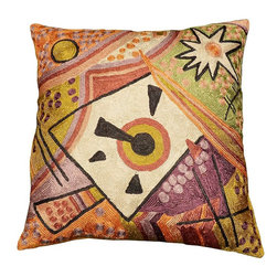 "Modern Silk - Kandinsky Point of Life Cushion Cover Hand Embroidered 18"" x 18"" - A riot of Spring colors with a stand-out, central focal point. Artist Wassily Kandinsky used concentric circles to portray the soul. Considering the colors and the surrounding motif, it nearly appears as though it is a soul being pierced by life itself, or an ovum receiving its seed surrounded by living cells. The entire piece speaks of renewed life. A winsome Kashmiri design as tribute to Kandinsky, artfully rendered in chain-stitch embroidered art silk."