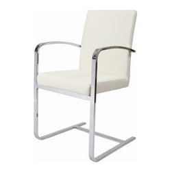 Pastel Furniture - Pastel Furniture Monaco 37 Inch Arm Chair in Ivory (Set of 2) - The Monaco arm chair exemplifies handsome proportions and bold design. With simple lines mixed with curves for comfort, this beautiful chair adds style and elegance to the dining experience. The chair is upholstered in Pu Ivory with a Chrome leg.
