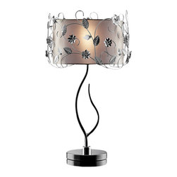 Warehouse of Tiffany - Gardenia Table Lamp - This Gardenia Table Lamp would bring an elegant, organic style to your home. The twisting chrome vines are highlighted by the lovely fabric shade that create a soft ambient light. Setting: IndoorFixture finish: ChromeNumber of lights: One (1)Requires one (1) x 40-watt bulb (not included)Shade: 9 inches in heightDimensions: 30 inches high x 17 inch diameter shadeMaterials: Metal and fabricCSA Listed, ETL Listed, UL Listed