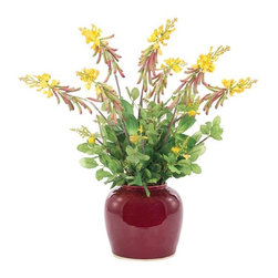 "Silver Nest - Yellow Crotalaria Centerpiece- 23""h - Yellow Gold Crotalaria Plant in Deep Red Medicine Jar Oxblood Vase"