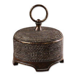 Uttermost - Aubriana Distressed Decorative Box - This decorative box with its silver beaded details is glamorous enough to be showcased anywhere in your home. Use it for toilet items in your bath, jewelry in your bedroom or potpourri in your entryway.
