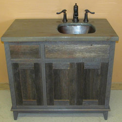 Weathered Gray Antique Barnwood Vanities - WEATHERED GRAY BATHROOM VANITY BY ViennaWoodworks.com made from reclaimed gray barnwood in Waseca, Minnesota.