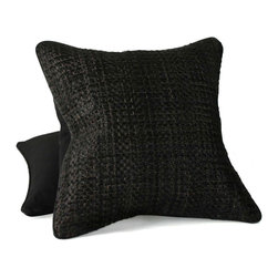 Pfeifer Studio - Cowhide Basket-Weave Pillow - This beautifully textured basket weave pillow is perfect for a sofa or bed. The neutral color palette would add the perfect hint of earthiness to a modern design. It's a great pop of cowboy-chic decor.