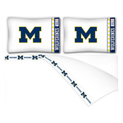 Sports Coverage - NCAA Michigan Wolverines Football Queen Bed Sheet Set - Features: