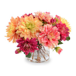 """New Growth Designs - Mixed Dahlia Arrangement - Brighten any space with this colorful springtime bouquet of Dahlias. The big, beautiful flowers in pink, peach, and fuchsia are arranged by hand in a 6"""" diameter cylinder vase made from hand-blown glass. The realistic stems look fresh-cut from the garden, and our permanent acrylic solution is crystal-clear and won't yellow over the years like other artificial arrangements. Overall dimensions (approx.): 12"""" diameter x 12"""" high."""