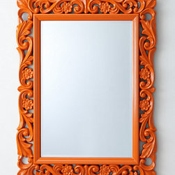 Château Mirror, Orange - Feeling daring? Splash some vibrant and positive color above your mantel. Keep the remaining accessories fairly neutral, and add this same color to the room with pillows or a pair of lamps.