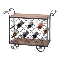 ecWorld - Urban Designs Aged Wooden Rolling Wine Rack Kitchen Cart - 35 Bottle Display - Features a wine storage rack that holds 35 bottles ideal to display your fine wine selection. Aged and weathered for that vintage look and feel.