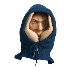 "Grandin Road - Lifelike Scary Peeper Halloween Figure - Halloween Decorations and Decor - Eerily real in size and features, with lifelike, sparkling eyes, he's the stuff nightmares are made of. Shockingly realistic face with cupped hands ""dressed"" in a classic hoodie. Eerily real in size and features, with lifelike, sparkling eyes – Scary Peeper is the stuff nightmares are made of. Easily hangs on any window - indoors or out - with an attached suction cup. Vinyl construction with a real fabric hoodie. When you really want to frighten their socks off this Halloween, enlist the help of our three-dimensional, life-like Scary Peeper. Affix this creepy voyeur in the window of any room where unsuspecting guests might venture – he's sure to shiver their timbers every time they catch a glimpse of his realistic, sparkling eyes, detailed hands and mouth, all framed by his jersey jacket hood. Eerily real in size and features, with lifelike, sparkling eyes, he's the stuff nightmares are made of .  .  . . . A Grandin Road exclusive."