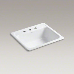 """KOHLER - KOHLER Mayfield(TM) 25"""" x 22"""" x 8-3/4"""" top-mount single-bowl kitchen sink with 3 - Equip your kitchen with the popular, versatile Mayfield sink. Constructed from enameled cast iron, this single-bowl sink resists chipping, cracking, or burning for years of beauty and reliable performance."""