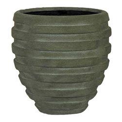 kasamoderndesign - Modern Grey Planter Pot, Medium - Modern Grey Medium Planter Pot to use Outdoor or Indoor Home Decoration Patio Garden Lawn