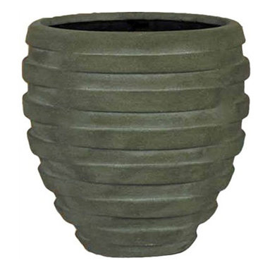 kasamoderndesign - Modern Grey Planter Pot, Medium - Modern Grey Medium Planter Pot to use Outdoor or Indoor Home Decoration Patio Garden Lawn