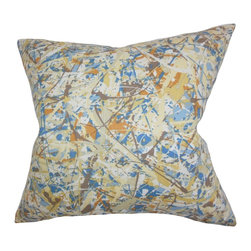 "The Pillow Collection - Geneen Geometric Pillow 18"" x 18"" - This throw pillow is a work of art, which features a splash of colors in blue, brown, orange, white and yellow. The striking design in this toss will certainly bring life to your living space. This 18"" pillow is easy to mix and match with solids and other patterns. Made of 100% soft cotton material and constructed in the USA. Hidden zipper closure for easy cover removal.  Knife edge finish on all four sides.  Reversible pillow with the same fabric on the back side.  Spot cleaning suggested."