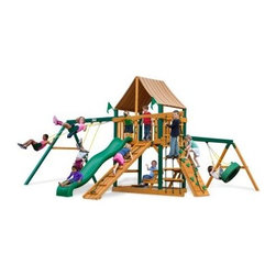 Gorilla Playsets Frontier Supreme Wood Swing Set with Western Ginger Canopy - There's a reason why characters like Daniel Boone and Davy Crockett strike such an alluring chord with children, and the Gorilla Playsets Frontier Supreme Wood Swing Set with Western Ginger Canopy allows children to embody that type of adventurer in their play. It's the resourcefulness, capability, and independence of those characters that make them so monumental for children, because those are the very qualities children are trying to establish as they grow up. The ability to explore and plan fantastical adventures bolsters a bold self-confidence within your children, helping them learn what it means to be a leader. But there's also a much more immediate advantage to this physical play: the play itself. The encouragement to actively play outdoors helps kids develop gross motor skills as well as a natural affinity for fresh air and exercise that will pave the way for a happy and healthy life. The several swings and climbing structures all inspire this kind of kinetic play. This opportunity to get their wiggles out also provides a proper place to blow off steam outside in the fresh air, which helps children focus other times when more of their concentration is needed. As kids climb up, down, and all around this set, parents will feel better knowing the children are safe with the securely anchored easy-grip handles and stable, square footing. The canopy and the built-in picnic table allow kids to stay outside and play almost all day without you having to worry about them getting too much sun, because the canopy is made from all-weather Sunbrella fabric that protects them both from harsh UV rays and even light rain. Kids will also love all the fun extras included with this set, such as the steering wheel, telescope, and sandbox. And since any new frontier is just itching to be claimed, there's even a flag kit that allows your children to mark their territory.Additional FeaturesTotal dimensions: 19W x 20D x 11H feetPlatform dimensions: 6W x 4L x 5H feetIncludes tic-tac-toe panel, steering wheel, telescopeAlso includes flag kit, safety handles, hardware4 x 4 solid wood framing4 x 6 swing beamsNaturally resistant to rot, decay, and insect damageAbout Gorilla Playsets Since 1992, Gorilla Playsets has been designing and selling ready-to-assemble playsets. With a reputation for providing excellent customer service, Gorilla Playsets conveniently provides customers with affordable playsets including quality wood components, sturdy playset accessories, all necessary hardware, and clear instructions. Gorilla Playsets always keeps safety in mind while creating inventive, durable products that provide children with myriad possibilities for fun and play.