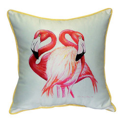 Betsy Drake - Betsy Drake Two Flamingos Pillow- Indoor/Outdoor - Two Flamingos Pillow- Large indoor/outdoor pillow. These versatile pillows are equal at enhancing your homes seaside decor and adding coastal charm to an outdoor setting arrangment. They feature printed outdoor, fade resistant fabric for years of wear and enjoyment. Solid back, polyfill. Proudly made in the USA.
