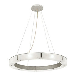 "Access - Oracle Aluminum Finish Cable Pendant Chandelier - A ring of frosted glass and aluminum shines brightly with eight 40 watt halogen lights in this eye-catching pendant chandelier design. Aluminum finish. Frosted glass. Includes eight 40 watt G9 halogen bulbs. 28"" wide. 10"" to 120"" adjustable height. Includes 10 feet of wire. 6"" canopy. Hang weight of 20 lbs.  Aluminum finish.   Frosted glass.   Includes eight 40 watt G9 halogen bulbs.   28"" wide.   10"" to 120"" adjustable height.   Includes 10 feet of wire.   6"" canopy.  Hang weight of 20 lbs."