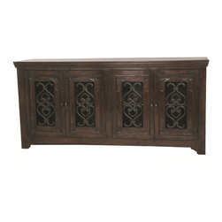 None - Mirage Hand-carved Kiln Dried Acacia Wood 4-door Buffet - Old World design meets modern day functionality in this timeless collection. Crafted of kiln dried solid Acacia wood and hand finished in a warm deep stain,this piece is beautifully hand-carved in all the right places for an elegant design.