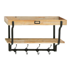 Benzara - Functional Multi Level Wall Shelf And Hooks - A functional as well as attractive piece of shelf space for your wall. Crafted with beautiful beach wood for the top tray and bottom, and a set of eight hanging hooks. This unit creates the most useful piece of storage for the garage or a dorm room. But also a lovely shelving unit to hang in the kitchen to keep spices and spoons.