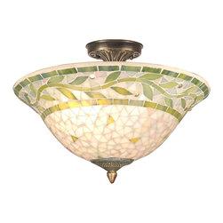Dale Tiffany - Dale Tiffany TH70655 Mosaic Transitional Semi Flush Mount Ceiling Light - Mosaic Semi-flush