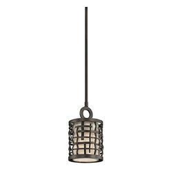 Kichler - Kichler 43048OZ Loom Single-Bulb Indoor Pendant with Cylindrical Fabric Shade - Product Features: