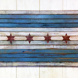 Carolina2California - Chicago Flag - Planked Wood Municipal Flag of Chicago - Chicago Flag is crafted using reclaimed wood and a distressed finish that beautifully captures the story represented in the municipal flag of Chicago.