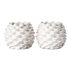 Threshold Pinecone Votive Candleholders, Set of 2 - Porcelain white pinecone votive candleholders are the perfect touch to a modern winter dining tablescape.