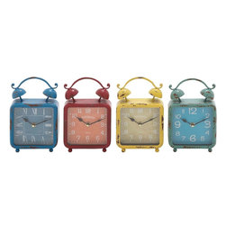 "Benzara - The Distressed but Colourful Metal Desk Clock 4 Assorted - Are you looking for a set of desk clocks that are colorful, vivid and also have a rustic touch? Do you want to return to your childhood? Well, if you answered any of those questions in the affirmative then you will love these metal desk clocks. In simple yet eye-pleasing shapes, these clocks have colorful but distressed frames. Their rustic looks will make you relive your life upon seeing them. Capable of decorating your bedrooms, these clocks are unique. Perfect as gifts for adults, these clocks can be used and given in many situations. Their simple dial and numbers mean that reading time is a breeze. Plus, they have been made using quality materials. This gives them a long life. Kids will also love them, and jump in joy. Indeed, these clocks are like works of art. Metal desk clock 4 assorted dimensions: All 4 clocks: 6 inches (W) x 2.5 inches (D) x 9 inches (H); Metal desk clock color: Assorted; Made from: Metal; Dimensions: 17""L x 7""W x 11""H"