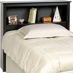 Prepac Sonoma Twin Bookcase Headboard in Black - Constructed from a combination of high quality, laminated composite woods with attractive profiled MDF top and moldings. This Twin Bookcase Headboard in Black features two compartments which provide ample space for bedside reading material, clocks etc.
