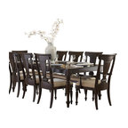 Homelegance - Homelegance Inglewood 10-Piece Rectangular Dining Room Set in Cherry - Sophistication merges with elegant lines and classic shapes in the Inglewood collection. The bold server features wood and silver accented drawer knobs and glass door fronts, all accenting the deep cherry finish of the group.