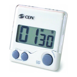 CDN Digital Loud Alarm Big Digit Timer - The CDN TM7 Loud Alarm Timer features a large digit display and a loud alarm.  The timer is constructed of food safe ABS plastic  and features a stop and restart function  last count recall  and 3 way mounting: a pocket clip  magnet  or stand.  1.5V AAA IEC LR03 Alkaline battery included.  Product Features      Measurement Range - 100 minutes by min/sec   Counts down   Big digit   Loud alarm   Stop and restart   Last count recall   Food-safe ABS plastic   3-way mounting: pocket clip/magnet/stand   1.5V AAA IEC LR03 Alkaline (included)