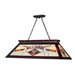 Z-Lite - Z-Lite KD27RED Tiffany Billiard Four-Light Island / Billiard Fixture Pendant - This beautiful 4 light billiard light will add brightness to your room with their brilliant stained glass display. These lights are shipped knocked down which allows them to be shipped by UPS or Fedex. Assembly is simple and completed in minutes.Specifications:
