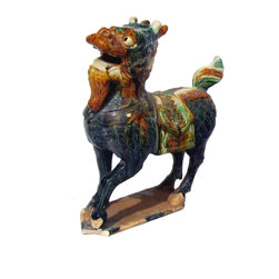 Golden Lotus - Chinese Handmade Colorful Ceramic Kirin Statue - You are looking at a Chinese handmade colorful ceramic Kirin statue.