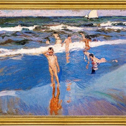 """Joaquin Sorolla Y Bastida-18""""x24"""" Framed Canvas - 18"""" x 24"""" Joaquin Sorolla Y Bastida Boys in the Sea framed premium canvas print reproduced to meet museum quality standards. Our museum quality canvas prints are produced using high-precision print technology for a more accurate reproduction printed on high quality canvas with fade-resistant, archival inks. Our progressive business model allows us to offer works of art to you at the best wholesale pricing, significantly less than art gallery prices, affordable to all. This artwork is hand stretched onto wooden stretcher bars, then mounted into our 3"""" wide gold finish frame with black panel by one of our expert framers. Our framed canvas print comes with hardware, ready to hang on your wall.  We present a comprehensive collection of exceptional canvas art reproductions by Joaquin Sorolla Y Bastida."""
