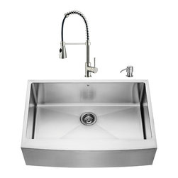 """VIGO Industries - VIGO All in One 33-inch Farmhouse Stainless Steel Kitchen Sink and Faucet Set - Add some sophistication to your kitchen with a VIGO All in One Kitchen Set featuring a 33"""" Farmhouse - Apron Front kitchen sink, faucet, soap dispenser, matching bottom grid and sink strainer."""