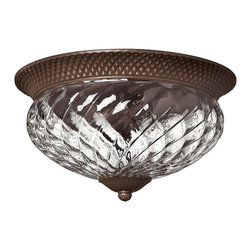 Hinkley Lighting - Hinkley Lighting 4881CB Plantation Traditional Flush Mount Ceiling Light - A Hinkley classic  the ornate Plantation collection features exceptional pineapple shaped  clear optic glass that makes a noble statement. The Burnished Brass  Pearl Bronze and Polished Antique Nickel finishes have matching candle sleeves and elaborate  d