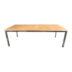 """Shiner - Shiner Stacked Plywood Dining Table, 42X95, Black, Natural - Modern, Eco-Friendly Furnishings Made in Atlanta, Georgia. Our goal is to transform tons of landfill-destined materials into killer designs. By building pieces out of disposable elements, we refine the future by upcycling the past. Everything from the steel, hardwoods, and cardboard to our lexan and linen is diverted from the incinerator. We strive to make every piece knock-down for ease of shipping with less environmental impact. This piece is a carbon steel frame your choice of brushed or blackened with Birch Plywood. The Stacked Dining Table is 42""""x95""""x29 3/4""""."""
