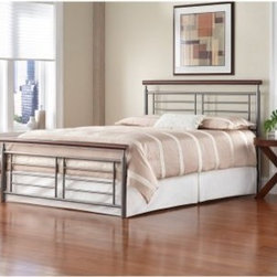 Fontane Bed - The Fontane Bed freshens up the look of your spare room. This headboard has a spacious, angular look of silver iron rods finished with a faux cherry top rail. Matching footboard, rails, and frame sold separately.About Fashion Bed GroupFashion Bed Group is a Leggett and Platt Company known for its innovative fashion beds, daybeds, futons, bunk beds, bed frames, and bedding support. Created in 1991, Fashion Bed Group is a large consolidation of three leading bed manufacturers. Its beds are manufactured of genuine brass, plated brass, cast zinc, cast aluminum, steel, iron, wood, wicker, and rattan. Fashion Bed Group's products are distributed throughout North America from warehouses located in Chicago, Los Angeles, Houston, Toronto, and Ennis, Texas.