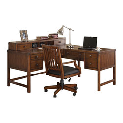 Wynwood - Wynwood Breton Square L Desk with Hutch in Coventry Cherry - Featuring a Coventry Cherry veneer finish with burnished metal knob hardware and metal corner cap accents, this Breton Square L-Desk with Hutch by Wynwood Furnitures provides functional office storage with modestly transitional appeal. Both left and right desk returns have cable accessible center drawers with thumb latch drop fronts and pencil trays, ideal for storing a keyboard or laptop. The left desk offers two utility drawers, the bottom of which includes removable dividers, and the right desk return features a file drawer that accommodates either letter or legal sized files. Accommodated by a hutch whichoffers an additional two drawers and three open storage compartments separated by dividers.