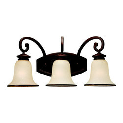 """Sea Gull Lighting - Sea Gull Lighting 44146 Wrought Iron Incandescent Three Light Bath Fixture from - Three Light Bath Fixture with Champagne Seeded Glass Shades with Misted Bronze TrimFixture may be mounted up or downIncludes 6 1/2"""" of wireRequires 3 - Medium A - Line 100w max Bulbs (Not Included)"""