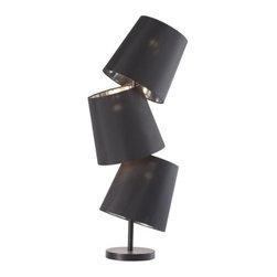 Zuo Lighting - Zuo Cosmology Table Lamp, Black - Stacked whimsically on top of one another, withy our Cosmology Black Table Lamp you can add class to any table top. It has black glossy painted metalllic base with 3 black fabric shades. This lamp comes with three 40W bulbs and is UL approved.