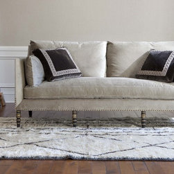 Ebanista - Leopold Sofa - Antiqued black decorative front legs with 22K antiqued gold detailing. Burnished gold nailhead trim. Includes two standard throw pillows (not shown).