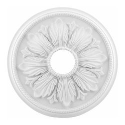Renovators Supply - Ceiling Medallions White Urethane Ceiling Medallion 23 1/2'' Dia - Ceiling Medallions: Made of virtually indestructible  high-density  urethane our medallions are cast from  steel molds  making them the highest quality on the market. Steel molds provide a higher quality result for  pattern consistency, design clarity & overall strength & durability.  Lightweight they are  easily installed  with no special skills. Unlike plaster or wood urethane is resistant to  cracking, warping or peeling.   Factory-primed  these medallions are ready for finishing. NOTE: Images medallions with a center opening may not be represented to scale, appearing larger or smaller than they actually are.