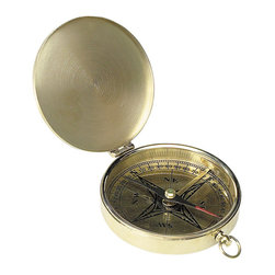 """Inviting Home - Victorian Pocket Compass - Victorian pocket compass; 3-5/16"""" x 4"""" x 1/2"""" Our customers want choice and that's what we offer. Another brass pocket compass a reproduction from the 19th century campaign trail."""