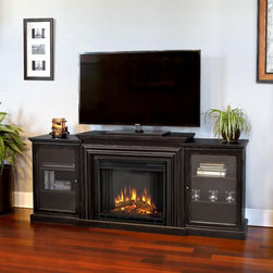 Real Flame Frederick Electric Fireplace - The Real Flame Frederick Electric Fireplace has a sleek finishes and contemporary look that's sure to enhance any room's decor. Each side cabinet has three storage shelves and a tempered glass door. This unit is surprisingly portable. Move it from living room to dining room if you want.  The fireplace plugs into a standard wall outlet and requires no special wiring, saving you from having to hire a contractor.