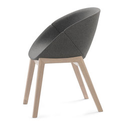 DomItalia Furniture - Coquille-L Dark Grey Armchair / Oak Legs (Set of 2) - This armchair is a great addition to any modern home with its vibrant color, great comfort and is versatility. The Domitalia Coquille-L Armchair with Oak Legs (Set of 2) features an ash wood frame with an integral polyurethane seat. The wood legs are in oak finish. Chair can be used in your kitchen or dining room.