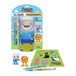 KOOLEKOO - Adventure Time Finn Tin pencil set - Finn holds onto your office supplies! This Adventure Time Finn Tin-Tastic Pencil Set with Tin features the adventurous boy as a cylindrical tin can that comes with an Adventure Time with Finn and Jake sticker sheet, 2 pencils, and 2 figural erasers shaped like Jake the Dog and Finn the Human.