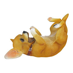 Tiny Tippler Chihuahua Dog Wine Bottle Holder - This awesome playful Chihuahua dog bottle holder figurine is great for holding wine bottles, liquor bottles, or for holding olive oil as part of your kitchen decor. Made of cold cast resin, the holder stands 7 1/2 inches tall, is 11 inches wide, and 4 1/4 inches deep, and looks quite lifelike. It makes a great gift for any Chihuahua lover.