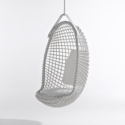 Eureka Hanging Chair - Hanging chairs make perfect sculptural accent pieces. I love how this one is all white, it's so fresh.