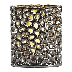Brasa Fire - Oval Tortoise Shadow Lantern Chrome - Brasa Fire's Oval Shadow Lanterns are versatile alcohol-burning smokeless vent free bio ethanol fireplaces made from high temperature ceramic surrounds and stainless steel burner inserts. Chrome color and organic tortoise pattern. Can be used in a range of settings in both indoor and outdoor environments. Unlike a traditional fireplace or stationary fire pit their uncomplicated setup means you can move them at a moment's notice - line them in a row on on the floor to light an aisle or walkway at a wedding or party, set them inside an old fireplace hearth (no flue needed since bio ethanol is clean burning and only emits heat, water vapor and tiny amounts of carbon dioxide into the air), use them as a tabletop centerpiece in your dining room or outside on your patio or terrace, place them poolside for a moonlight swim.