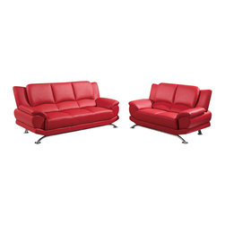 Global Furniture - Global Furniture USA 9908 2-Piece Bonded Leather Living Room Set in Red - The Global Furniture USA loveseat has been modeled to cater to both the desires of the contemporary or transitional home for design and comfort. Upholstered in red bonded leather and leather match with chrome legs to complete the look.
